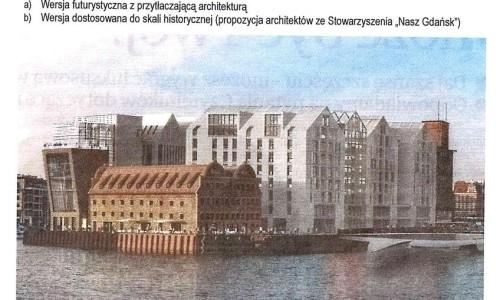 """Ostry sprzeciw """"Naszego Gdańska"""" w sprawie architektury odbudowy Wyspy Spichrzów"""