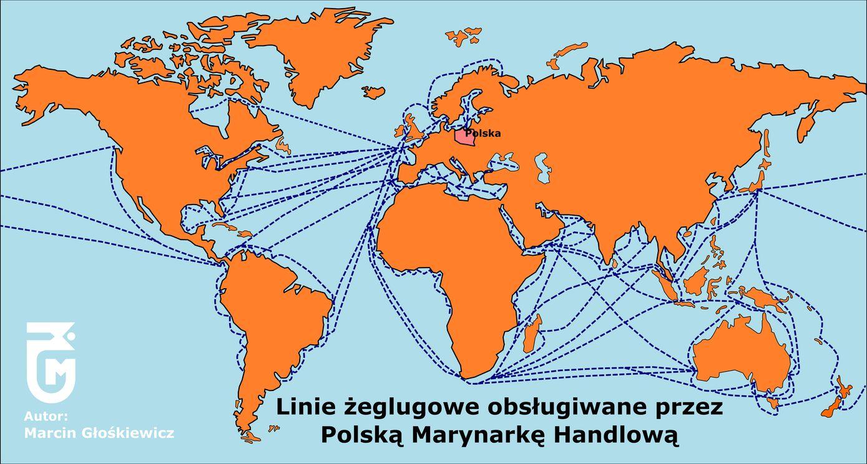 port Linie żeglugowe obsługiwane przez Polską Marynarkę- Handlową M.Głośkiewicz